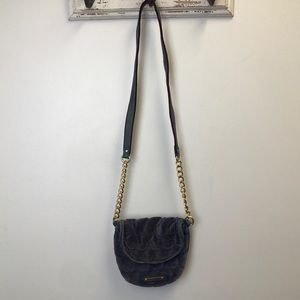 Juicy Couture Blue Circle Quilted Velvet Crossbody